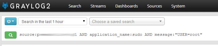 Graylog2 query dialog